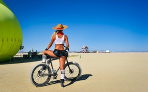 Picture girl, bike, pose, hat, figure, shorts
