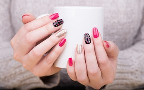 Picture girl, hands, mug, manicure