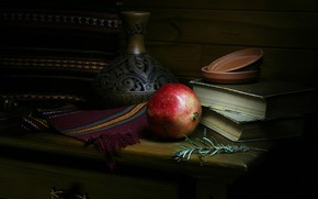 Picture the dark background, books, fabric, pitcher, still life, items, chest, garnet, composition, ceramics