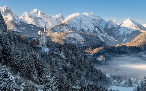 Picture winter, forest, trees, mountains, castle, Germany, Bayern, Germany, locks, Bavaria, Neuschwanstein Castle, Bavarian Alps, The …