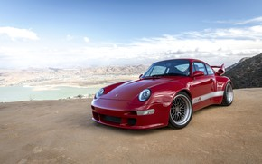 Picture red, coupe, 911, Porsche, 993, 2017, at the cliff, Gunther Plant, 400R Coupe