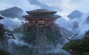 Picture Alex Deep Shit, Japanese temple, MC5 concept art, japanese temple art