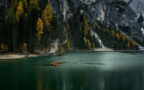 Picture autumn, forest, trees, mountains, lake, river, rocks, shore, the slopes, boats, ate, Alps, pond, larch