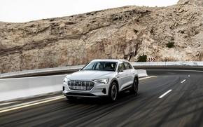 Picture road, white, rock, Audi, E-Tron, 2019