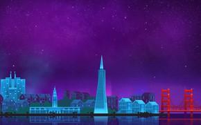 Picture The sky, Minimalism, Night, The city, Art, San Francisco, Digital, Illustration, San Francisco, Game Art, …