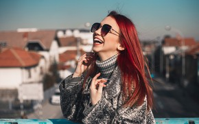 Picture girl, bridge, face, pose, laughter, hands, glasses, red