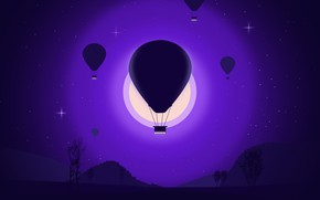 Picture Purple, Night, Wallpaper, Air balloon