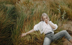 Picture grass, look, girl, nature, pose, jeans, blonde, blouse, jacket, Abbasova Anna
