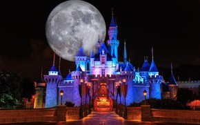 Picture night, castle, the moon, Disneyland