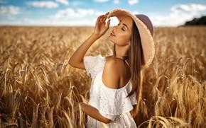 Wallpaper field, summer, girl, nature, model, hat