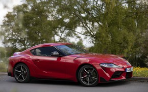 Picture trees, red, coupe, Parking, Toyota, Supra, the fifth generation, mk5, double, 2019, UK version, GR …