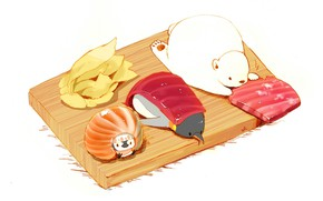 Picture white background, penguin, penguin, sushi, ginger, cutting Board, red fish, white bear, lie together