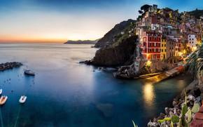 Picture sea, the city, rocks, home, boats, the evening, lighting, Italy, Italy, Riomaggiore, Riomaggiore, Cinque Terre, …
