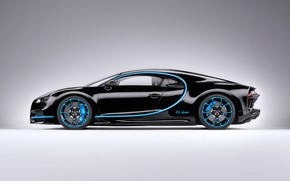 Picture background, black, art, side view, hypercar, Bugatti Chiron