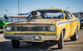 Picture Muscle, Car, Yellow, Engine