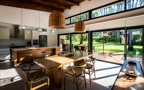 Picture interior, kitchen, terrace, dining room, First House