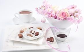 Picture flowers, chocolate, candy, Anya Ivanova