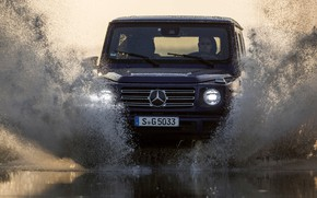 Picture water, light, squirt, blue, Mercedes-Benz, SUV, 4x4, 2018, G-Class, G 500, V8