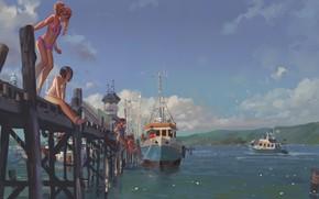 Picture Girls, Bridge, Boat, Marina