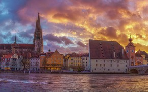 Picture the sky, sunset, bridge, river, building, home, Germany, Bayern, panorama, Cathedral, promenade, Germany, Bavaria, Regensburg, …