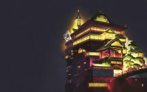 Picture Minimalism, Night, Palace, Castle, Light, Style, Asia, Architecture, Art, Spirited away, Lighting, Spirited Away