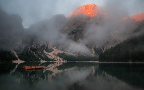 Picture forest, mountains, fog, reflection, rocks, shore, tops, boats, Alps, pond