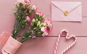 Picture letter, bouquet, candy, the envelope