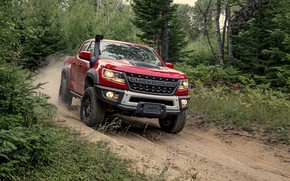 Picture road, red, dust, Chevrolet, pickup, Colorado, 2019, ZR2 Bison