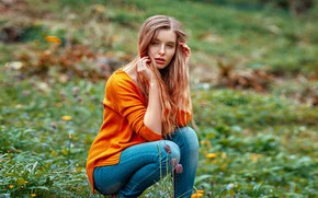 Picture grass, girl, pose, hair, jeans, Jade, Oliver Gibbs