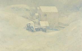 Picture landscape, house, picture, Snow, John Henry Twachtman, John Henry Twachtman