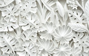 Picture leaves, flowers, pattern, stucco