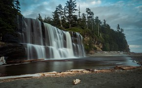 Picture forest, landscape, mountains, nature, open, waterfall, Canada, Alberni-Clayoquot