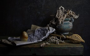 Picture paper, the dark background, wall, stone, Board, plant, egg, bouquet, dry, book, vase, still life, …