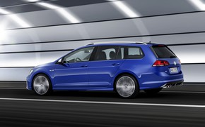 Picture blue, movement, Volkswagen, universal, 2014, Golf R Estate