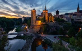 Picture the sky, trees, lights, river, castle, home, the evening, Germany, lights, bridges, Bautzen