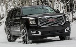 Picture winter, snow, black, lights, SUV, black, front, GMC, SUV, big car, GMC Yukon Denali, GMC …