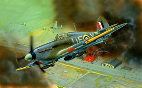 Picture the explosion, smoke, UK, fighter-bomber, Hurricane Mk IIB, bombs, twelve 7.7 Browning machine guns.303, The ...