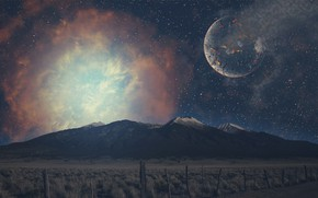 Picture space, mountains, planet, computer design