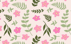 Picture leaves, flowers, pattern, pink, vintage