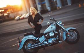 Picture girl, pose, figure, blonde, motorcycle, Alexander Burdov, Yamaha V-Star