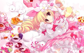 Picture tenderness, girl, rabbits, sweets, donuts