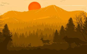 Picture Sunset, The sun, Forest, Animals, Deer