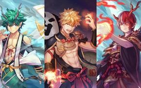 Picture collage, My Hero Academia, Boku No Hero Academy, Midori Isuku, Todoroki Shoto, My Hero Academy, …