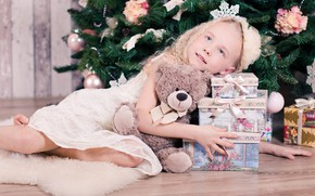 Picture mood, holiday, toy, bear, girl, gifts, New year