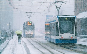Picture umbrella, street, snowfall, trams, Amsterdam - My Home