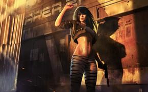 Wallpaper look, girl, light, pose, weapons, fiction, hair, sci-fi, press