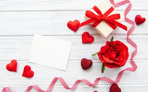 Picture rose, Bud, tape, hearts, Valentine's day, gift box, Olena Rudo