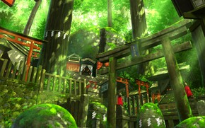 Picture moss, Japan, stage, temple, Fox, rays of light, sanctuary, kitsune, mysterious forest, torii gate, large …