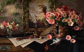 Picture flowers, style, notes, pen, picture, still life, petunias, the flute, Andrey Morozov