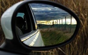 Picture auto, landscape, reflection, mirror